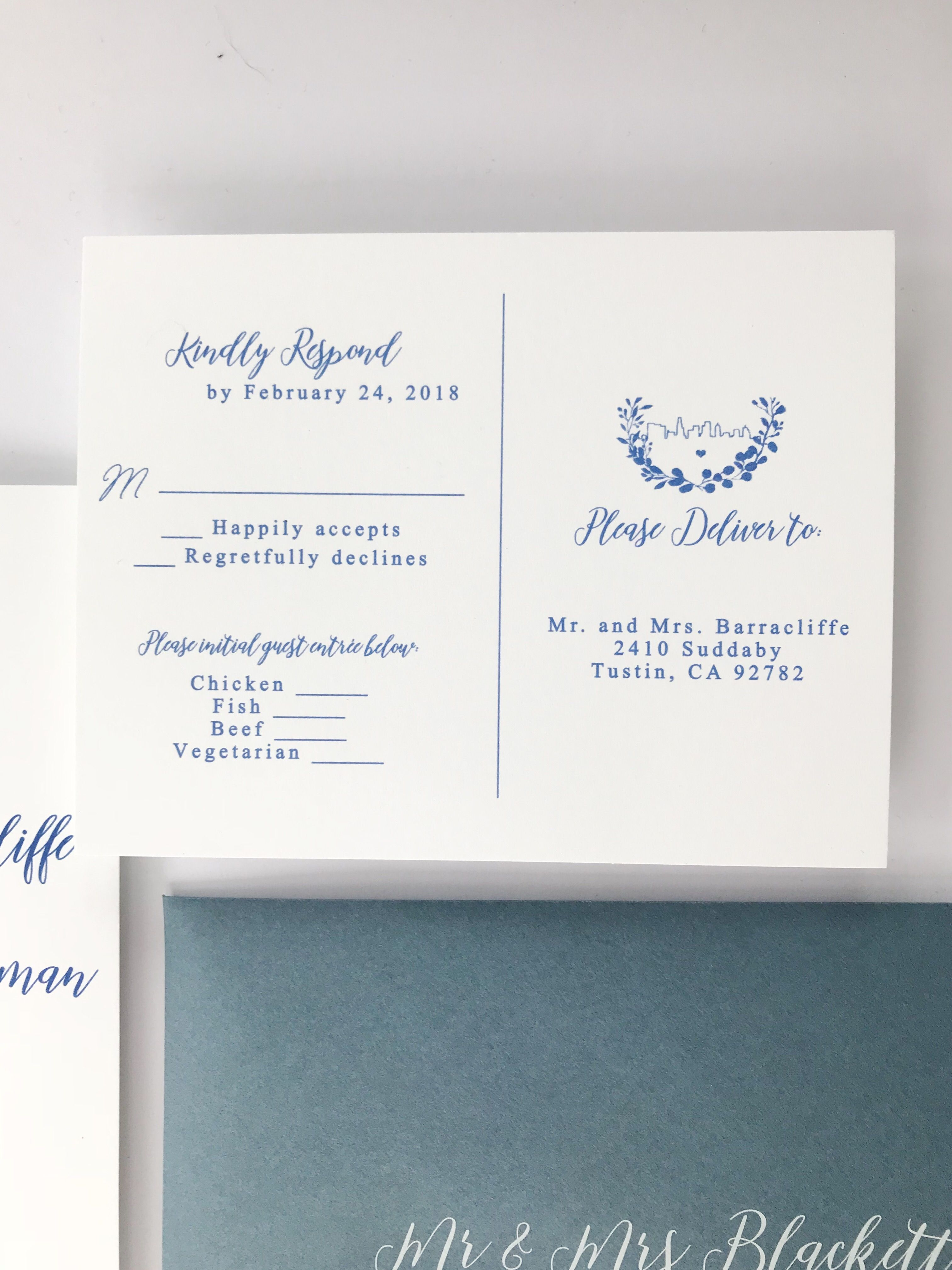 Invitation Reveal: Dusty Blue Thermography | Dusty blue, Rsvp and ...