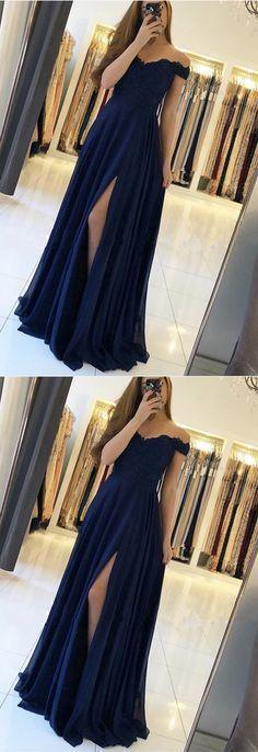 Lace Appliques Off Shoulder Long Chiffon Bridesmaid Dresses