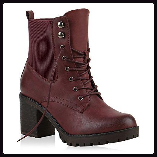 Stiefeletten Damen Schnürstiefeletten Plateau-Boots Profilsohle Leder-Optik Booties Damen Winter Schuhe 123828 Dunkelrot 40 Flandell nMiak53
