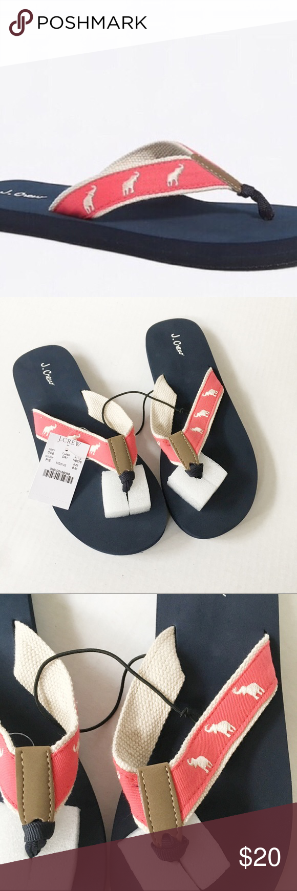 4fccab9bf332ce NEW J Crew Factory Embroidered Elephant flip flops New with tag. J Crew  Factory Embroidered