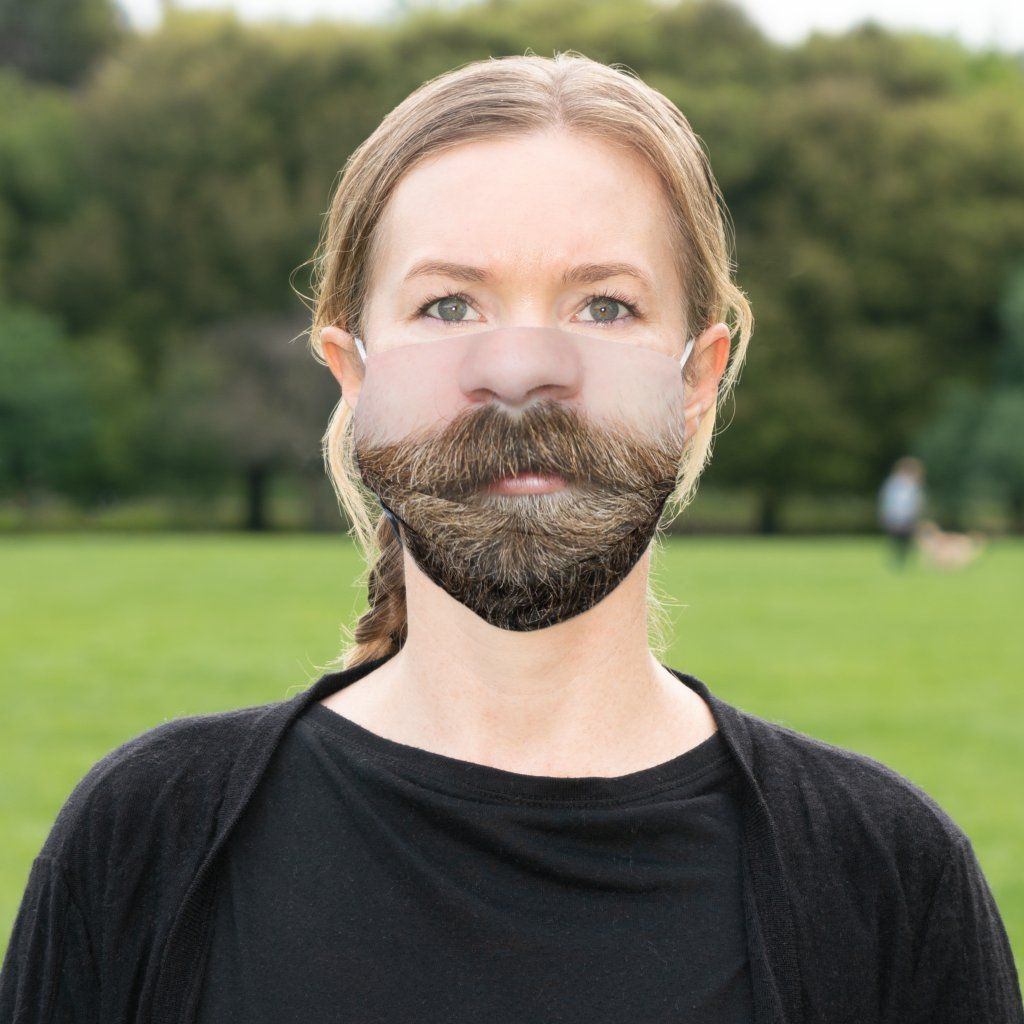 Cover your own nose and mouth with this hilarious color photo of a mans nose and mouth with a beautifully groomed beard.