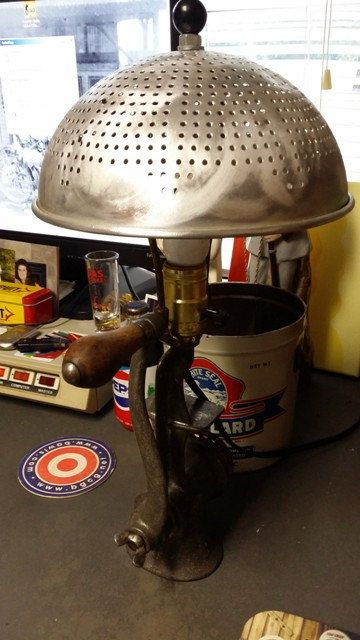 Old Meat Grinder-repurposed into a lamp by PickersThatRepurpose