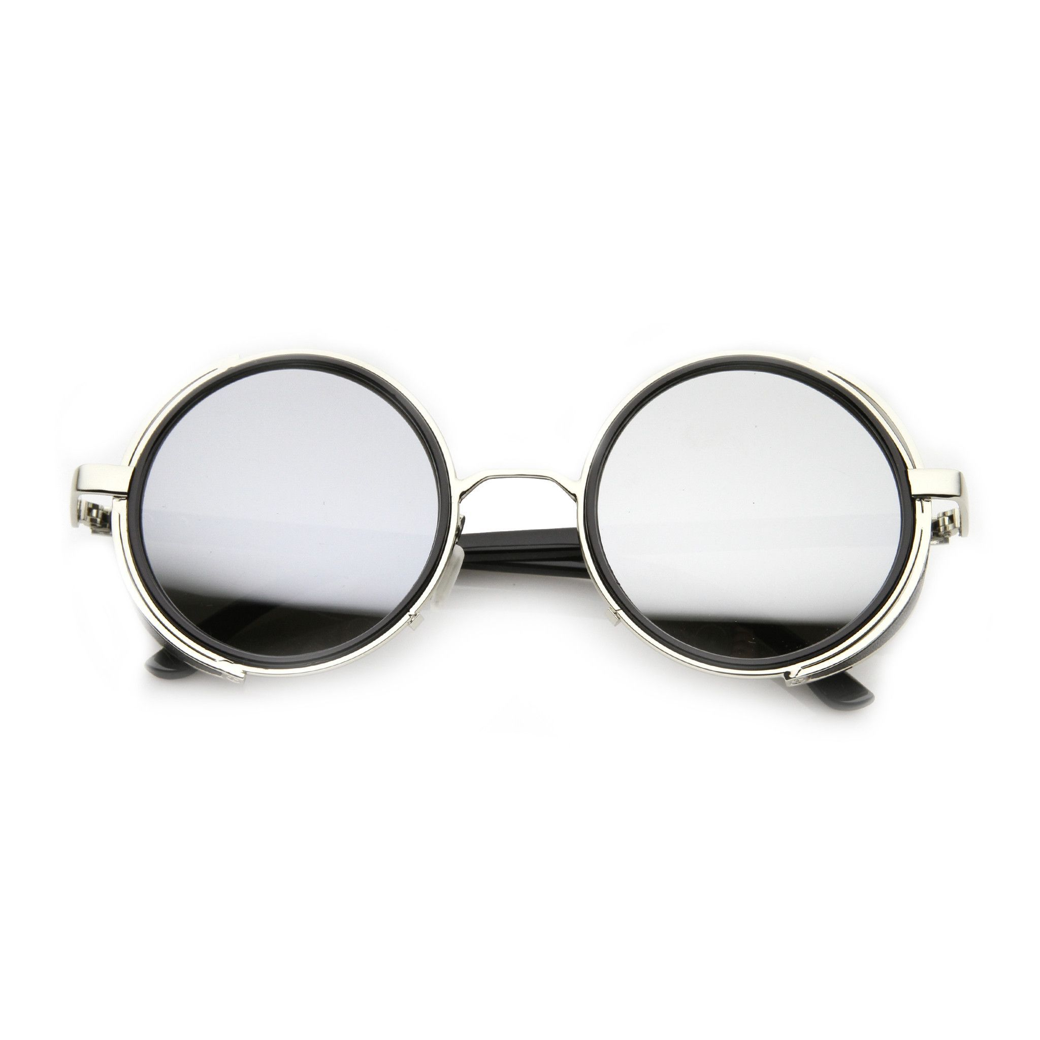 909afec0fdd ... Studio covered side round silhouette sunglasses featuring a metal outer  frame with plastic filling the inner part and shield covers at the sides.
