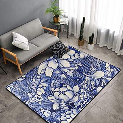 Amazon Com Niyoung Bedroom Livingroom Sitting Room Big Size Area Rug Home Decor Chinoiserie Blue And White Lotus Sitting Room Decor Rugs And Carpet Bath Rug