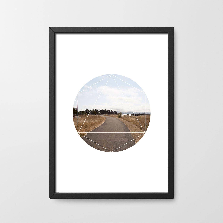 geometric road way original photography digital art print bedroom