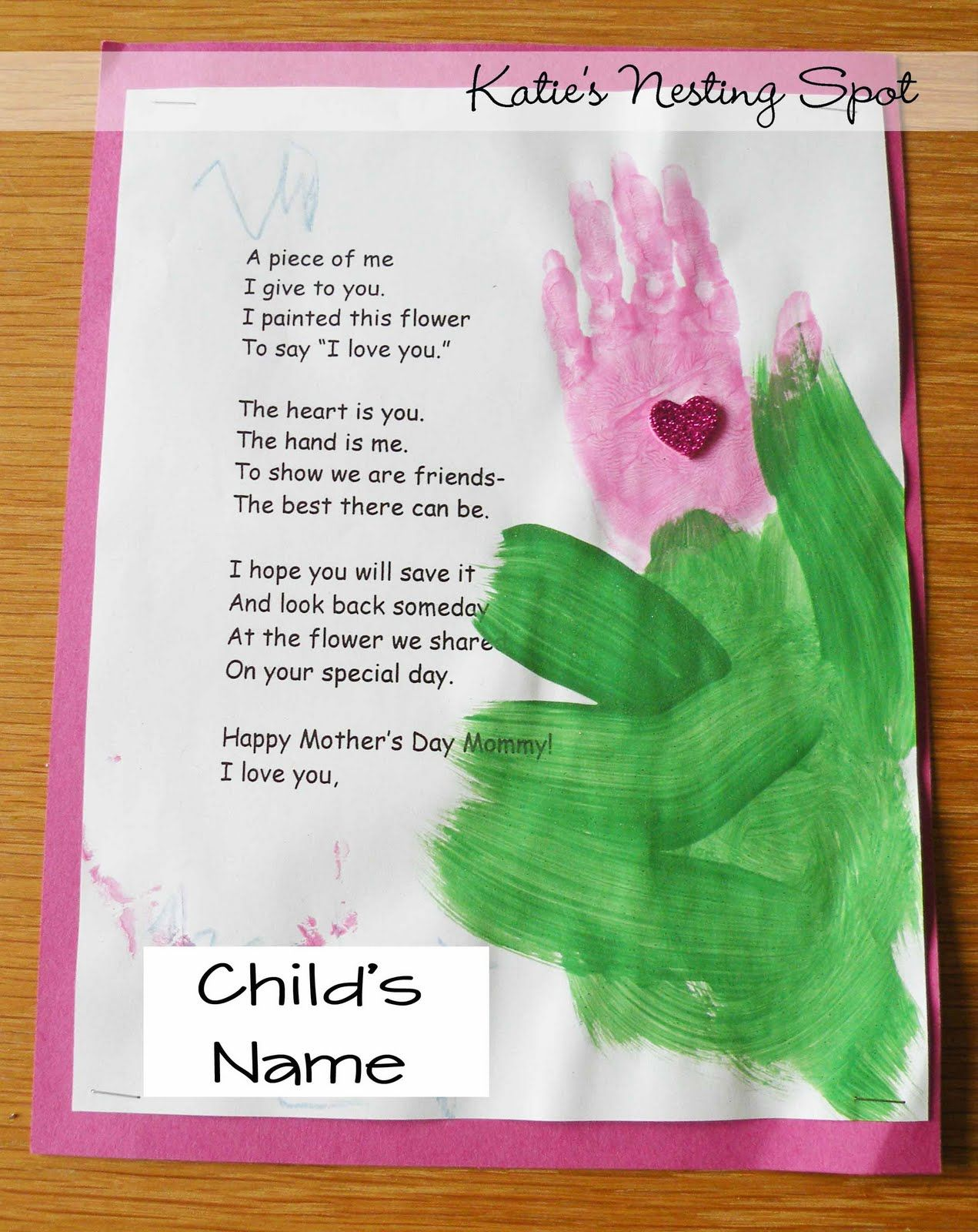 Mothers day projects handprint flowers preschool for Mothers day preschool crafts