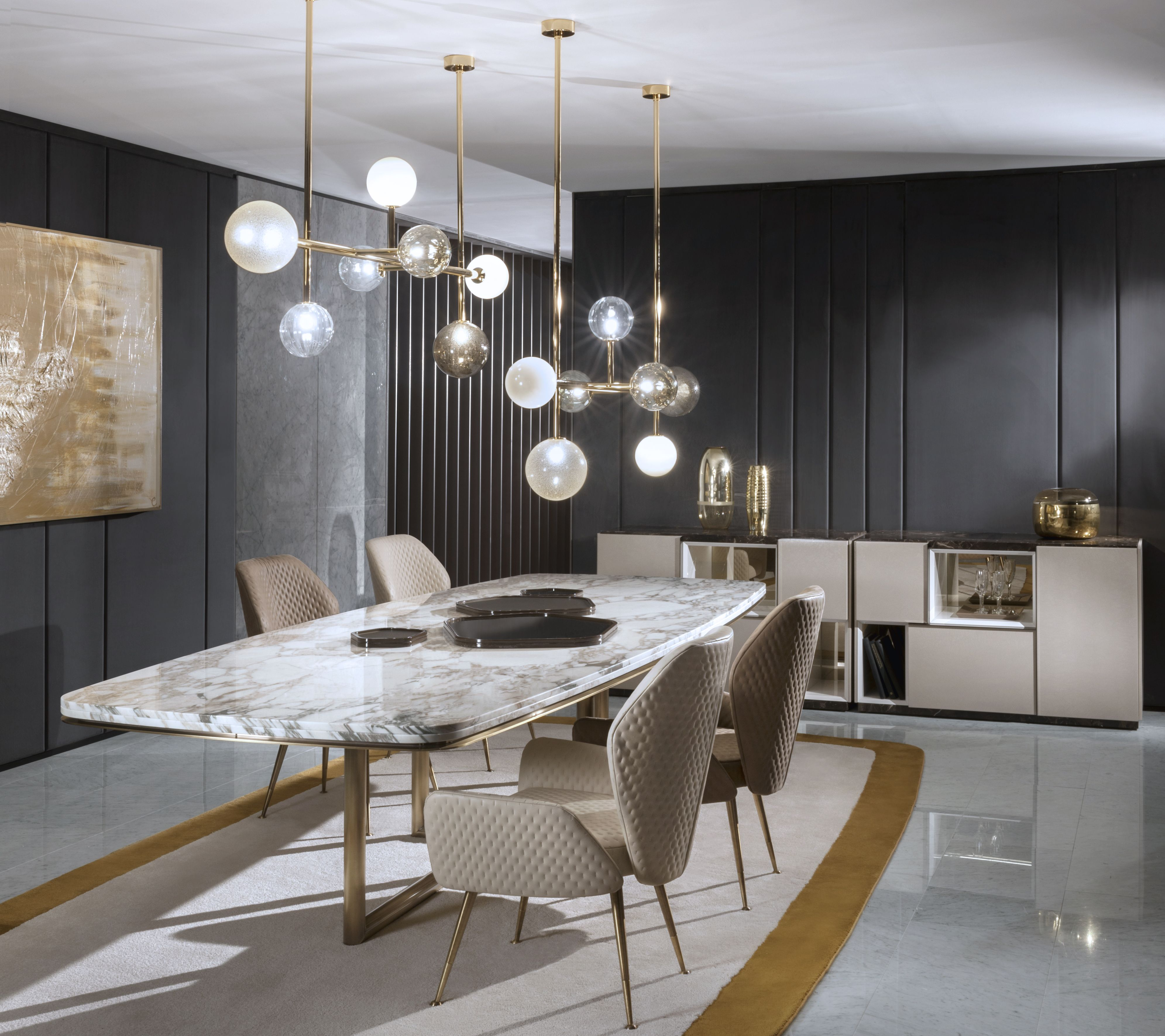Contemporary dining room composed a geometric room with ...