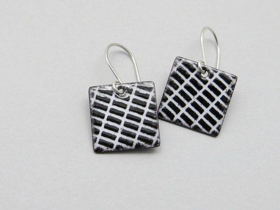 Black and White Square Earrings with Sterling Silver