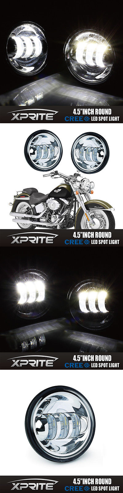 motorcycle parts: 4.5 Chrome Led Spot Fog Ping Light Lamp For ...