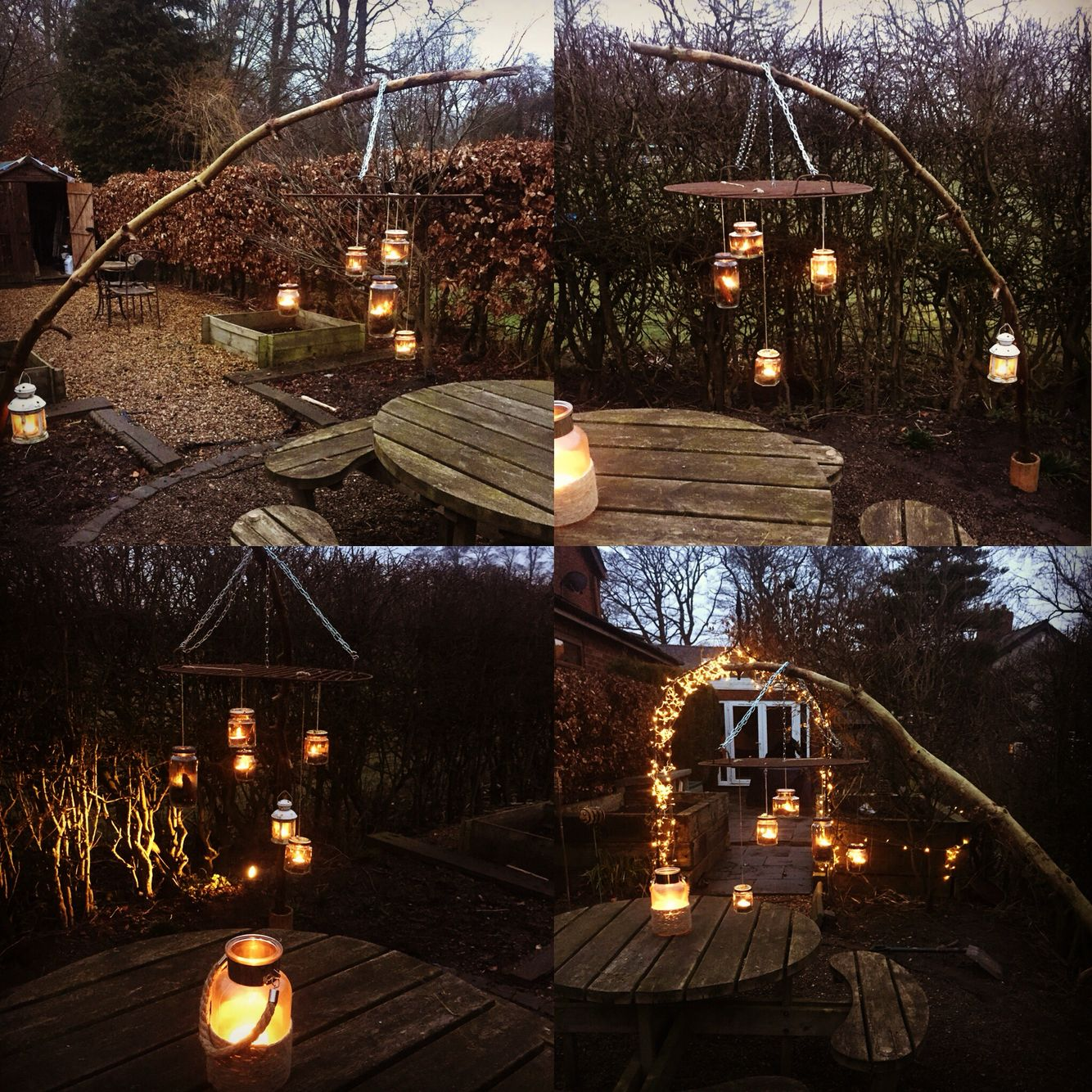 DIY garden lantern, made with a bbq grill an old branch and used food jars