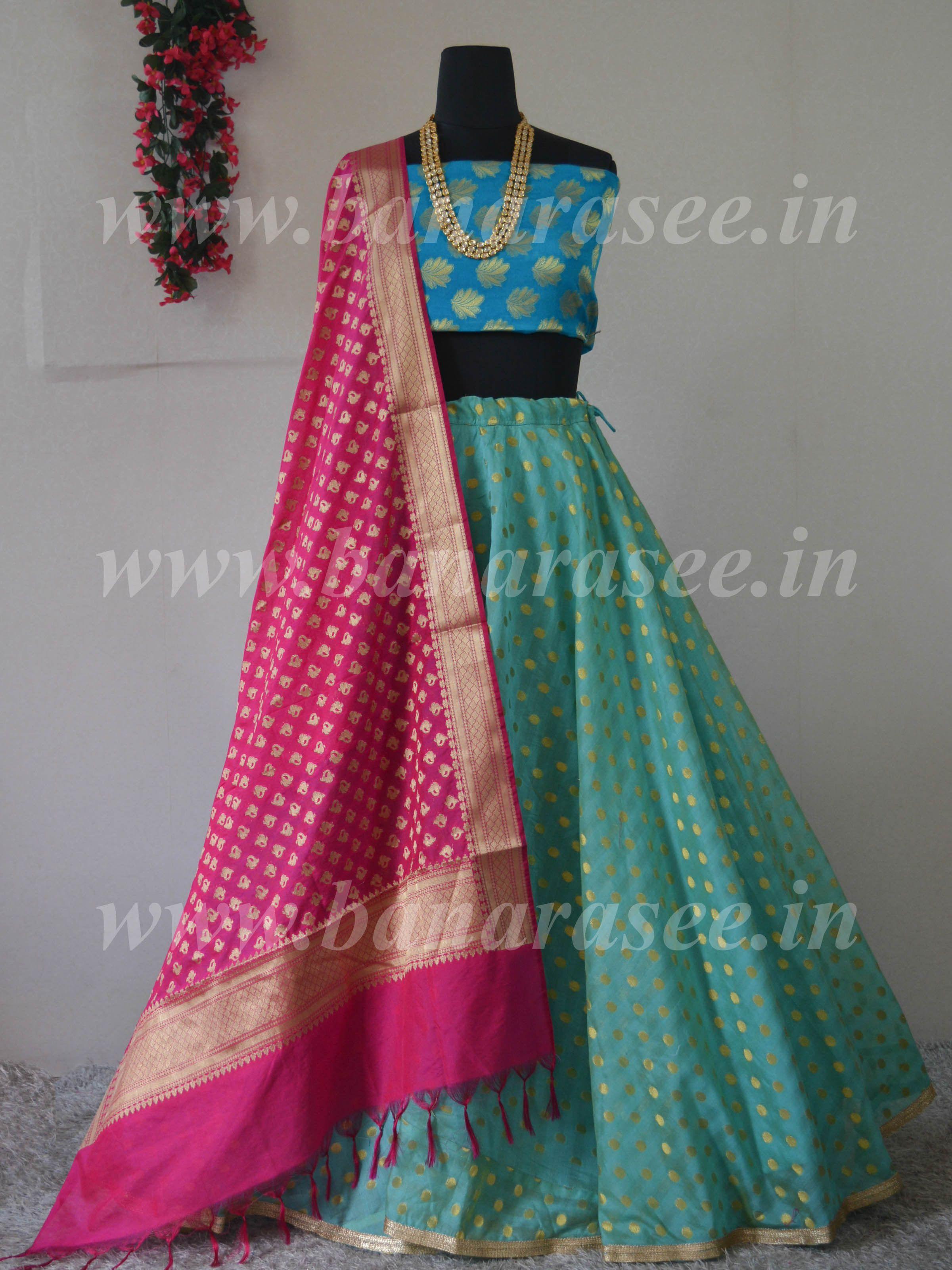 c597284369 Banarasee Stitched Chanderi Lehenga & Blouse Fabric With Pink  Dupatta-Blue(Dual Tone)