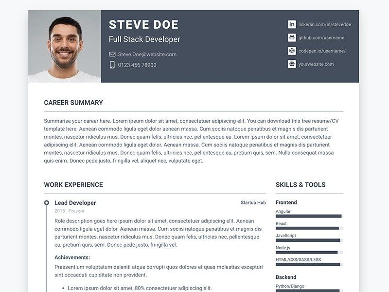 Pillar Free Bootstrap 4 Resumecv Template For Developers Resume Template Free Resume Examples Free Resume Template Download