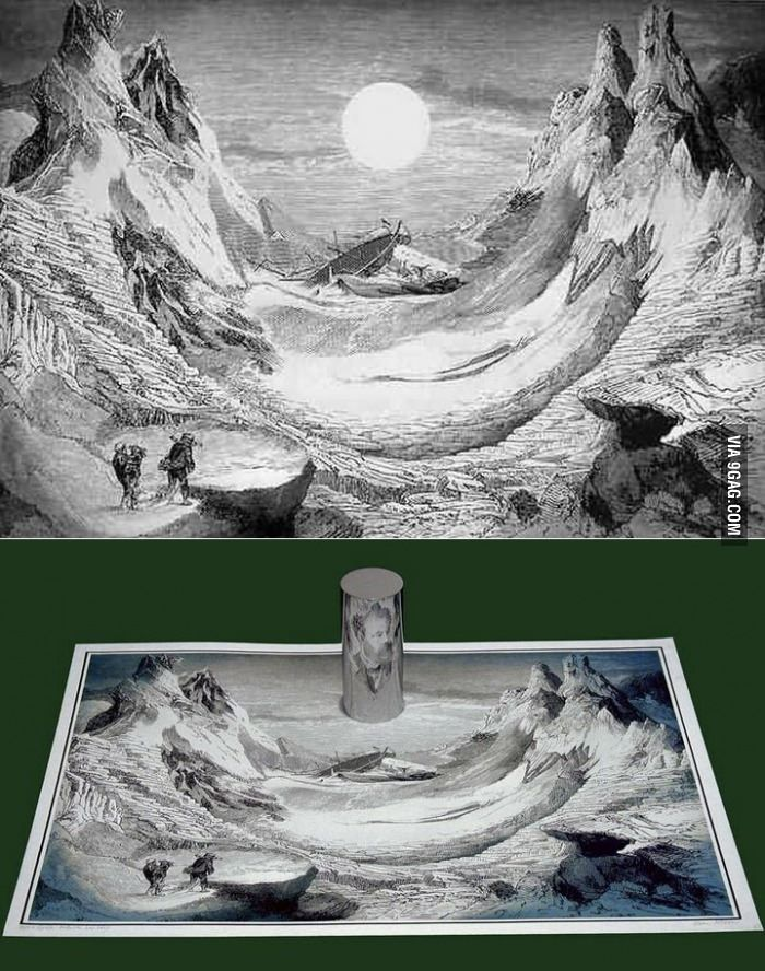 It looks like it depicts a shipwreck but if you place a mirror in a certain spot it becomes a portrait of Jules Verne.