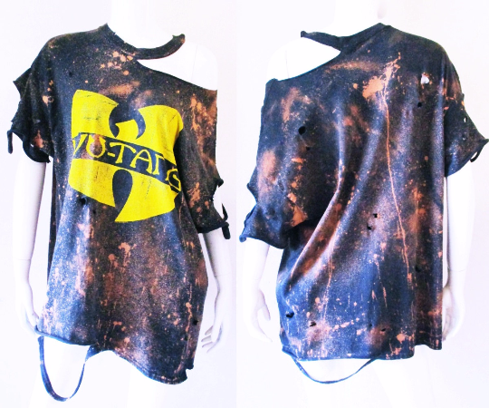 849908a14956 Wu Tang Clan starry sky Bleached Distressed off the shoulder shirt dress or Tunic  bleach tee S-XL Hiphop We can custom like this picture with your own ...