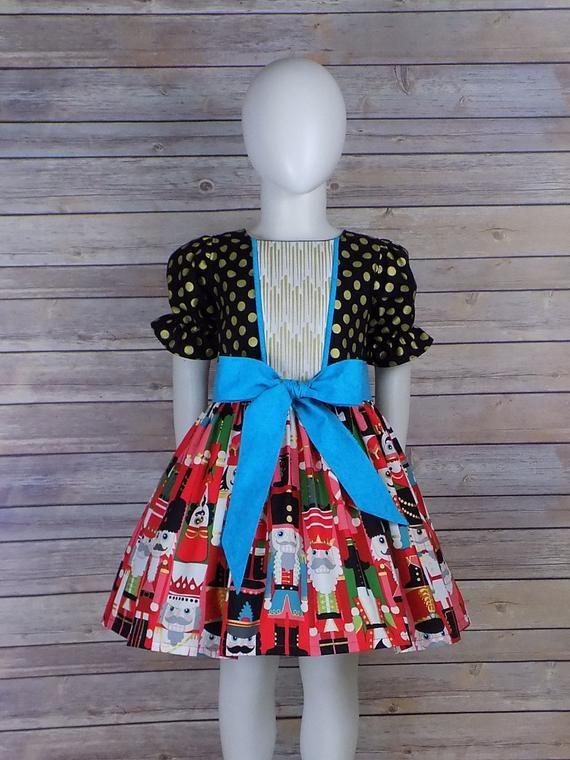 6e152a541f02 Nutcracker Dress, Girls, Fancy, Christmas Dress, Black Gold, Red, Dinner,  Party, Clothing, Boutique,