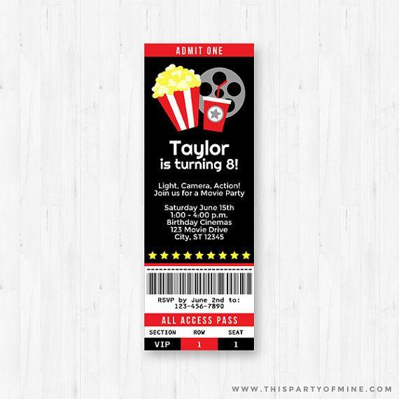 Movie Invitation - Printable Movie Night Birthday Party - Movie - ticket invitation template