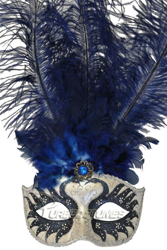 Brand New Mardi Gras Masquerade Colombina Swan Princess Feather Mask Light Blue