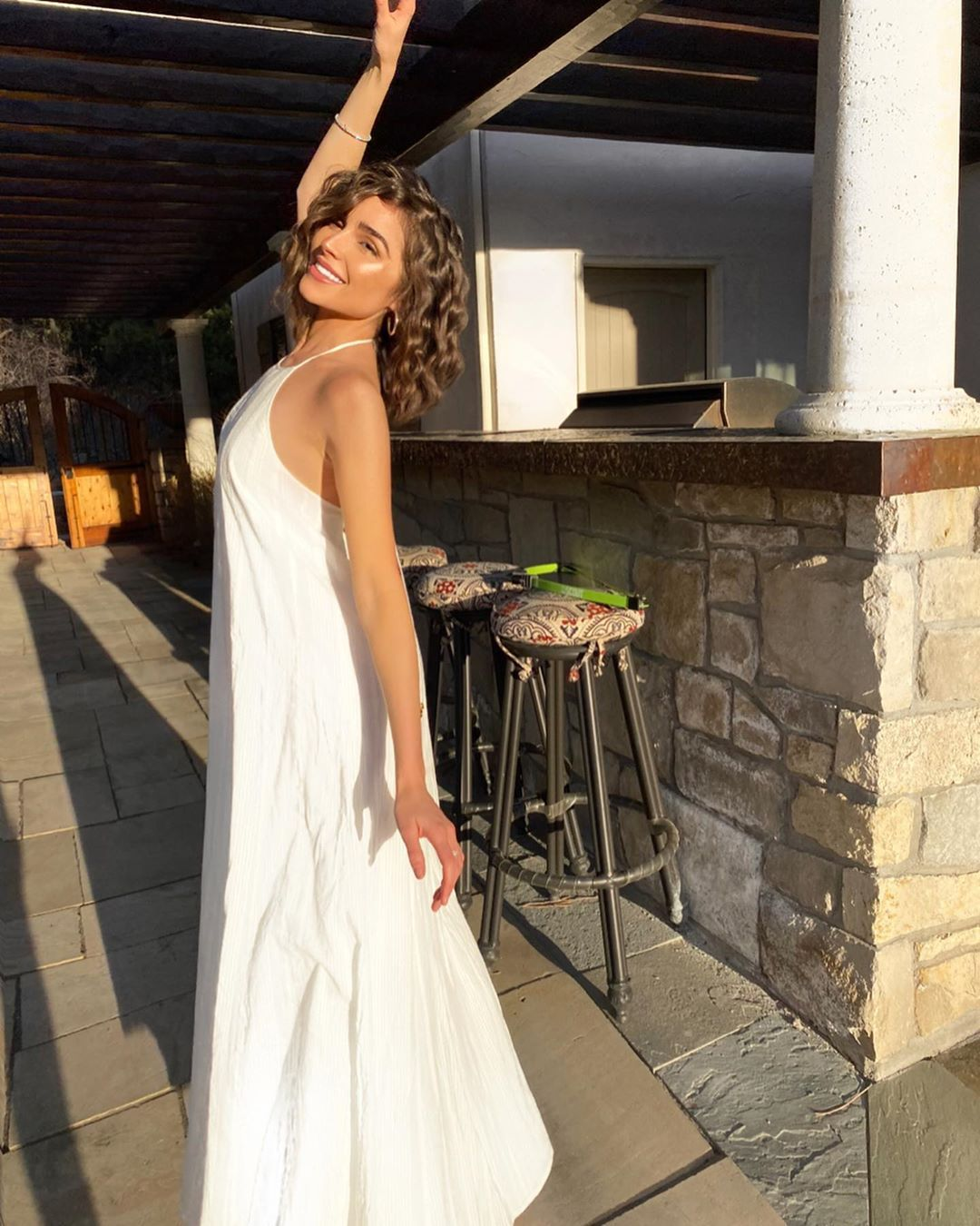 Olivia Culpo White Backless Crinkle Striped Lacademie Maxi Dress All White Spring Summer 2020 On Sassy Daily Maxi Dress Maxi Dress Cotton Olivia Culpo