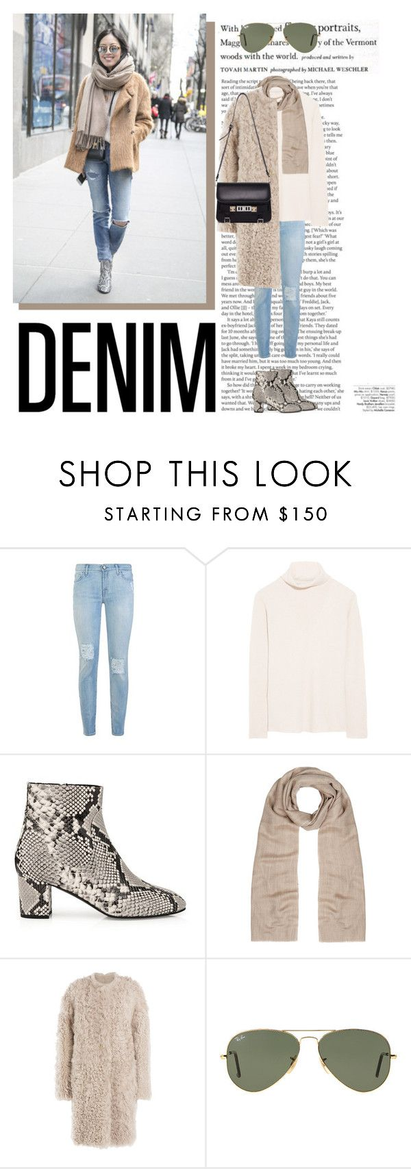 """""""Distressed Denim"""" by katsin90 ❤ liked on Polyvore featuring ASOS, 7 For All Mankind, The Row, L.K.Bennett, Yves Salomon, Ray-Ban, Proenza Schouler, Avenue and distresseddenim"""