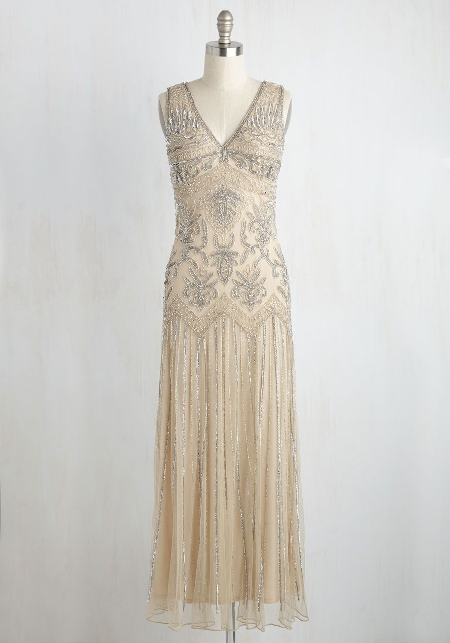All Aisles on You Dress in Champagne - Tan, Solid, Beads, Sequins ...