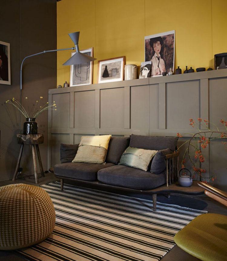 Feng Shui Wohnzimmer Wandfarbe Element Erde Gelb Gedämpfte