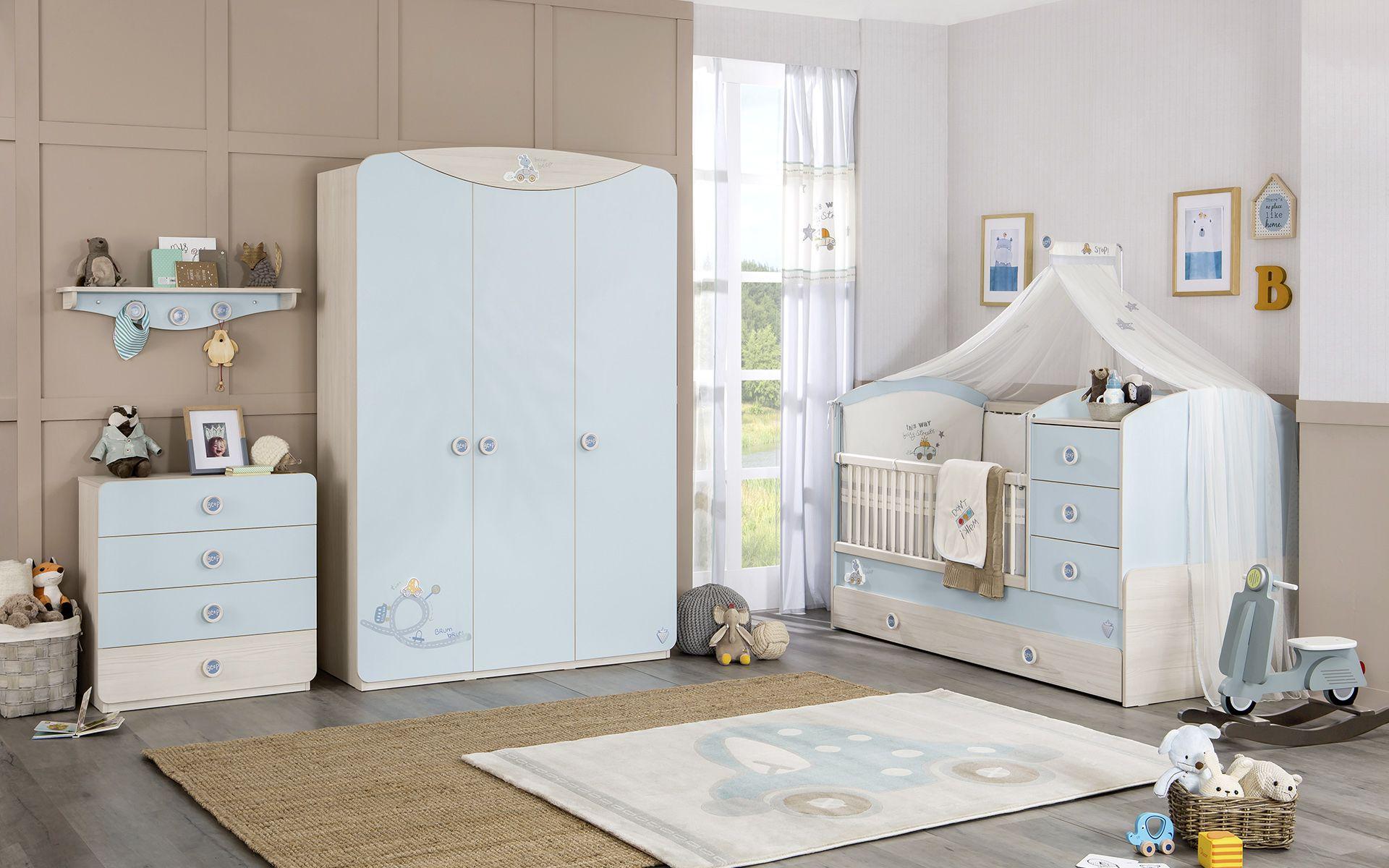 CHAMBRE BABY BOY 1 – lit barreau enfant – armoire – Cilek