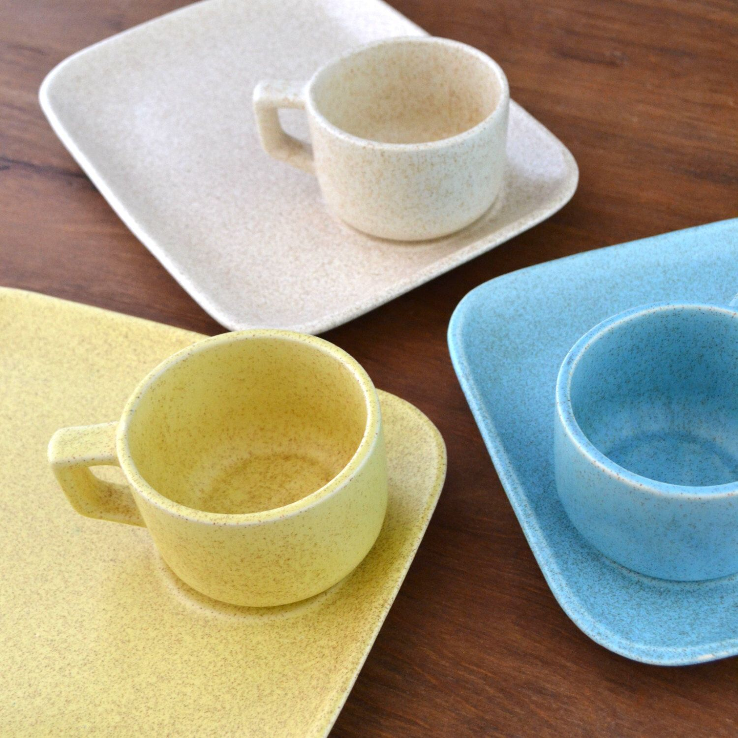 Vintage Soup and Sandwich Set - Snack Set Tray - McCoy Dinnerware - Pastel Speckleware - : mccoy dinnerware - pezcame.com