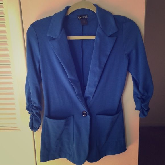 Royal blue blazer  Royal blue blazer with front pockets and black button for closure. This blazer can be worn over denim or with a skirt or sundress. Jackets & Coats Blazers