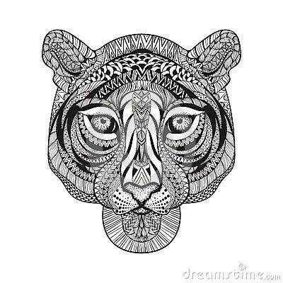 Zentangle stylized tiger face hand drawn doodle vector - Mandalas de tigres ...