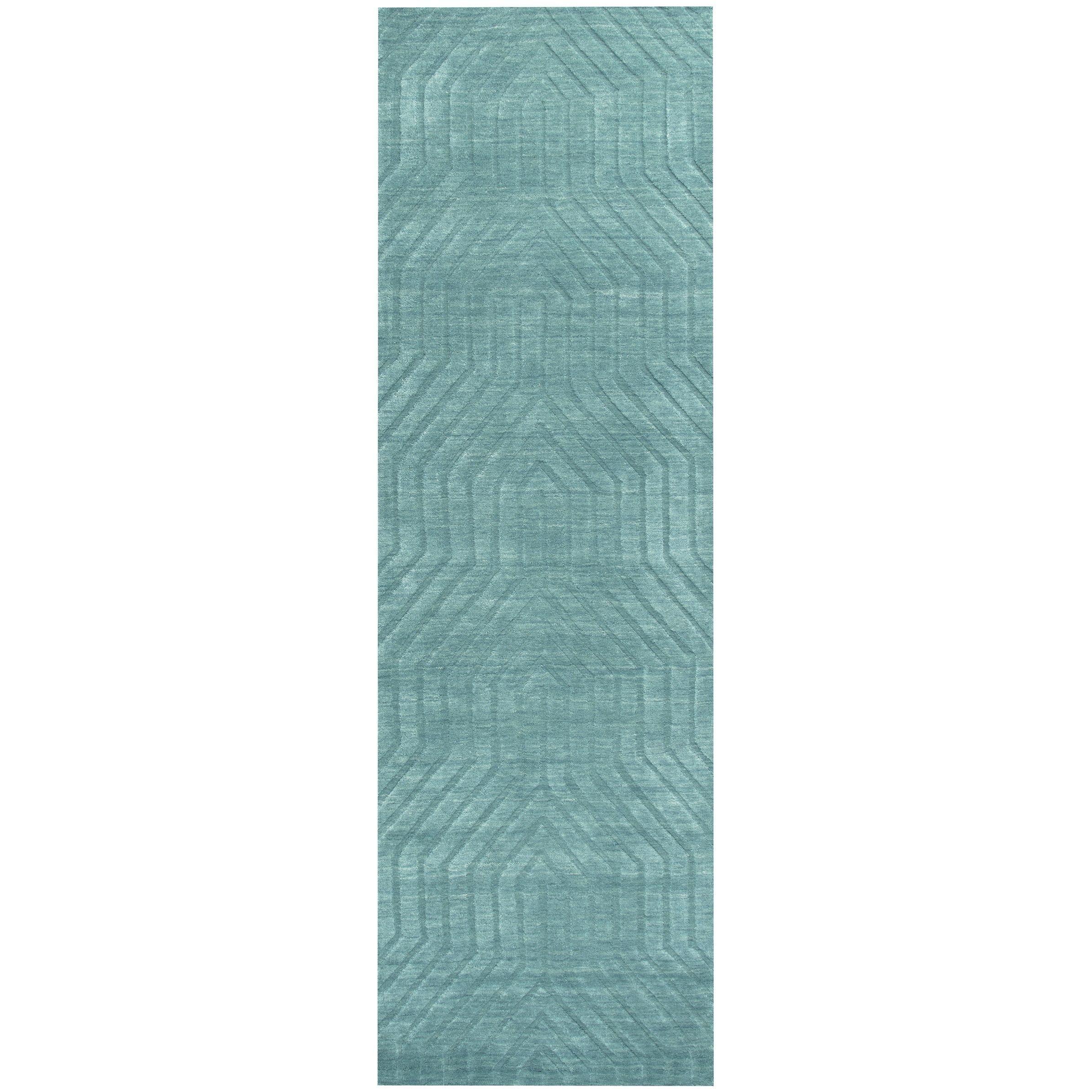 Hand Loomed Technique Blue Dark Teal Wool Solid Runner Area Rug 2 6 X 8 2 6 X 8 Wool Area Rugs Rugs Rug Runner