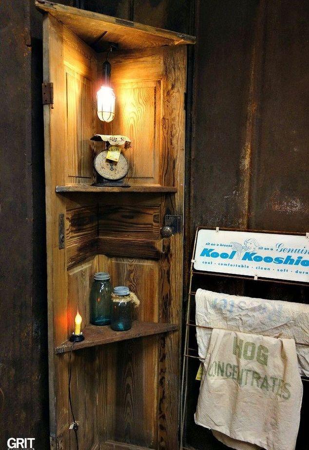 Diy Corner Door Shelf Old Wooden Doors Rustic Corner Shelf Diy Wood Shelves
