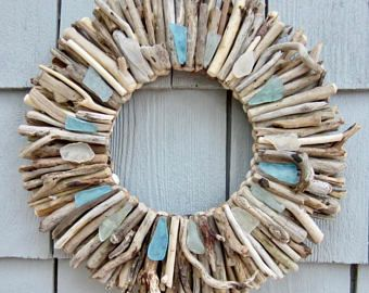 Maine Driftwood Wreath With Sea Gl Turquoise Aqua And White Beach Decor Wall Art