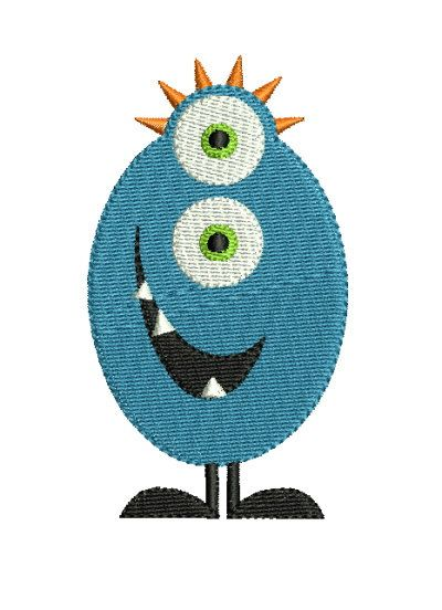 Cute Monster 4 Machine Embroidery Design 2 Sizes | Applikationen