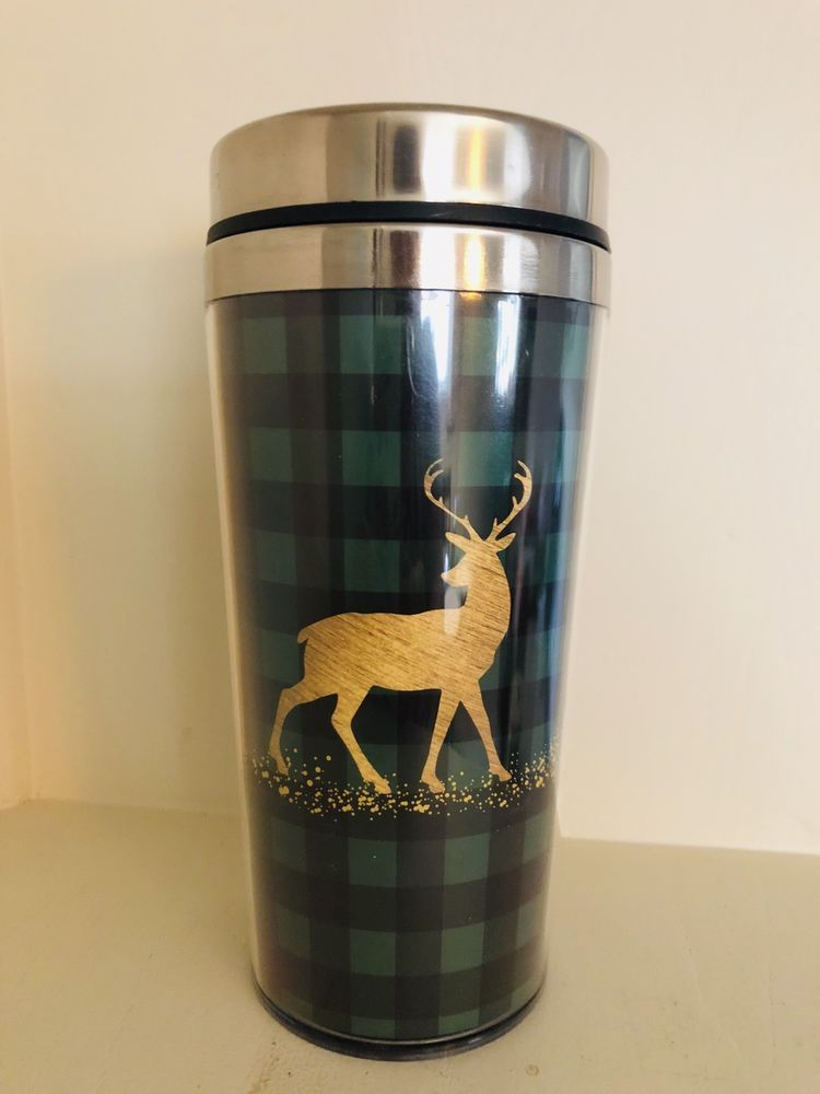 Lo Tumbler 14 Oz Buffalo Check Deer Buck Christmas Green | Cricut