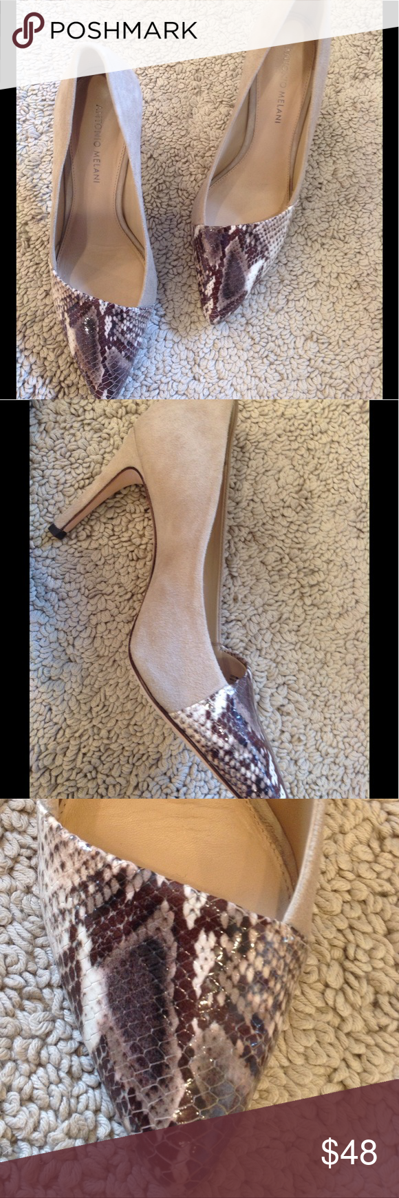 Heels High Heel Pumps.  Suede with Asymmetrical Animal Print Toe.  Worn Twice!! ANTONIO MELANI Shoes Heels
