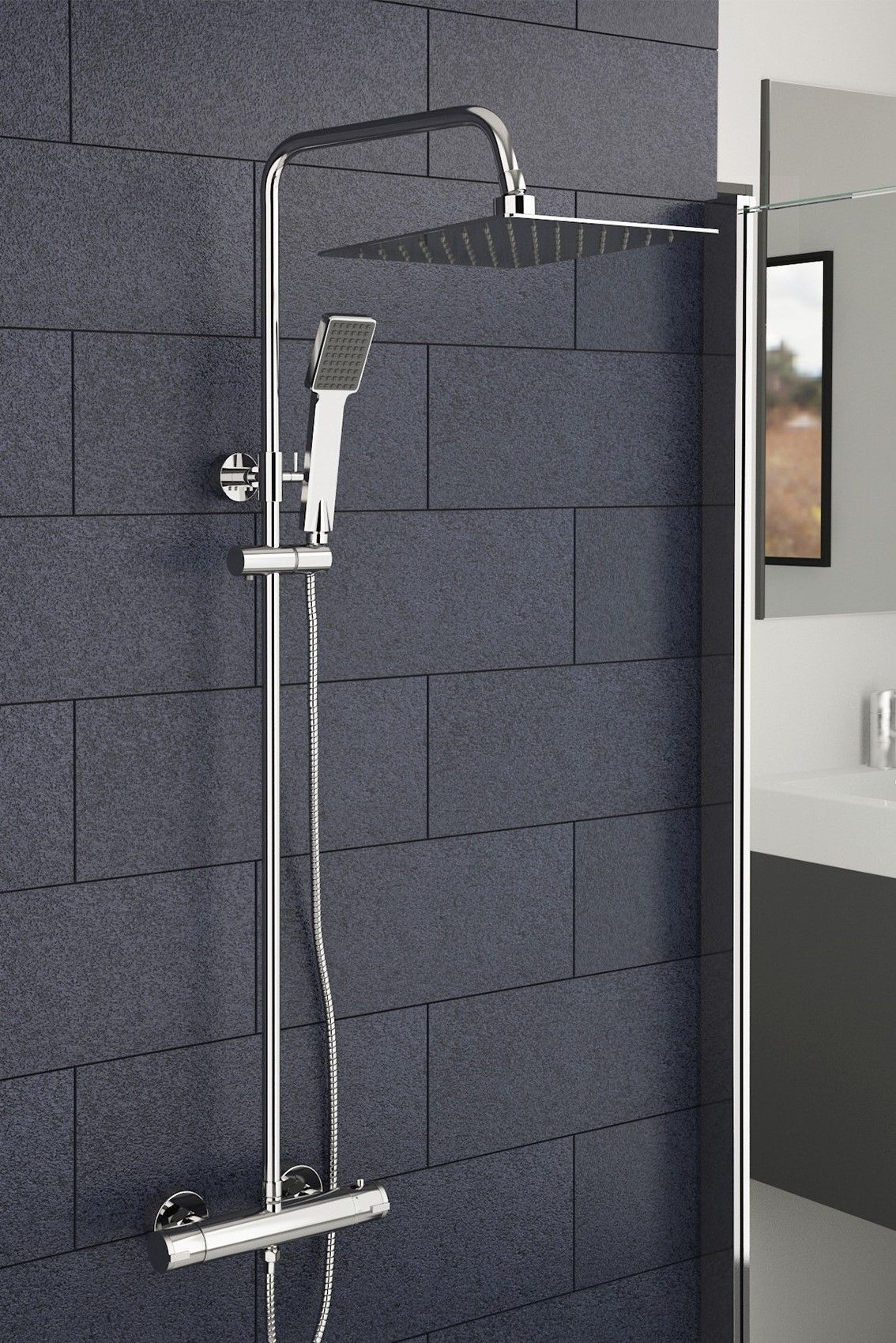 Triton Finish 5 Mode Shower Head.Dnieper Thermostatic Shower With Dual Shower Head Bathroom