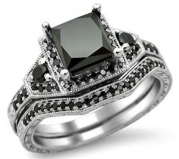 Lovely  ct Black Princess Cut Diamond Engagement Ring Bridal Set k White Gold Front Jewelers