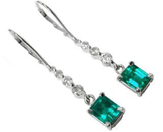 Emerald Dangle Earrings Online Cut Colombian Emeralds