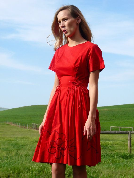 50s True Red Embroidered Country Corset Waist by VoyageurVintage
