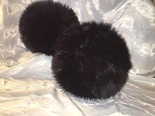 Saari Design Round Ball Throw Pillow Faux Fur Black Shag