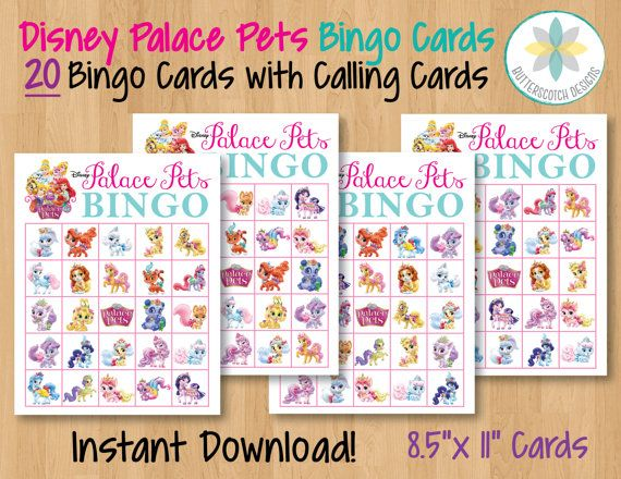 Etsy 8 00 Disney Palace Pets Printable Bingo Cards 20 Different Cards With Calling Cards By Butterscotchdesi Bingo Cards Printable Bingo Printable Palace Pets