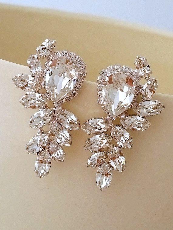 White Clear Diamond Crystal Statement Stud Earrings Bridal Wedding Jewlery