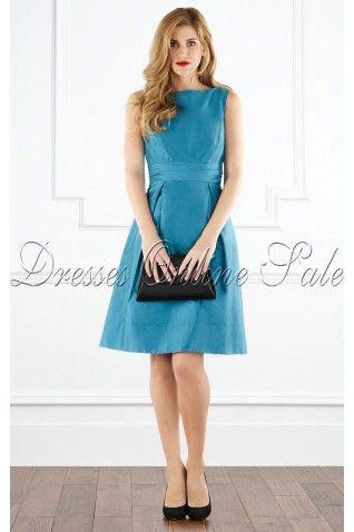 Blue A-line Jewel Knee-length Bridesmaid Dress