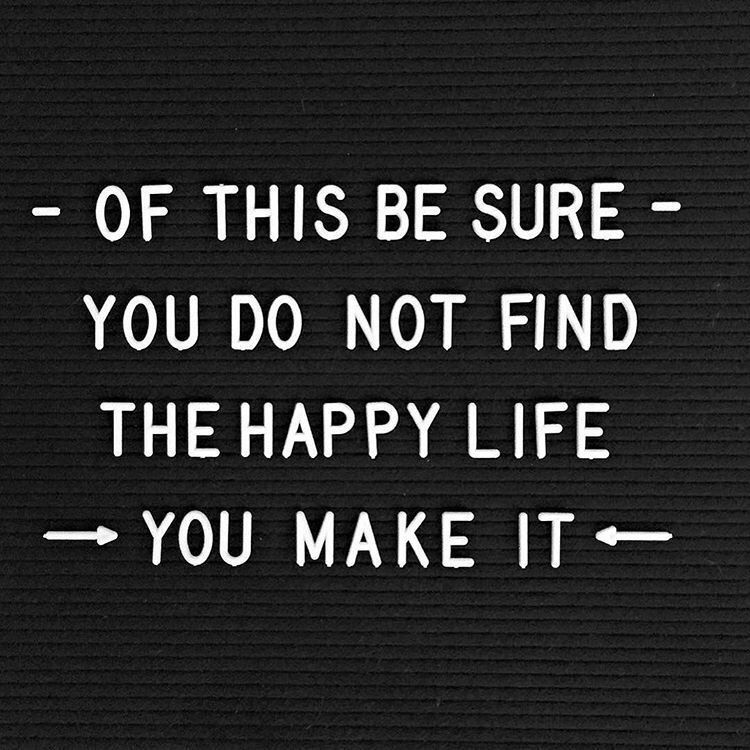 You don't find happiness, you create it