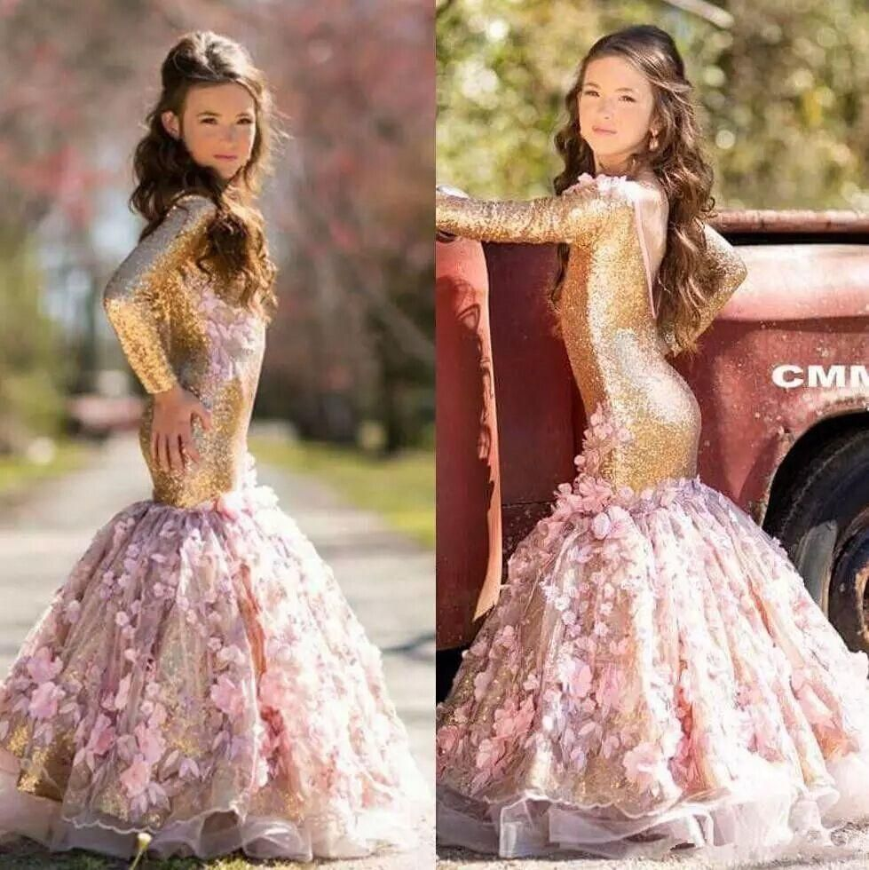 Blingbling gold mermaid sequined girls pageant dresses long sleeves
