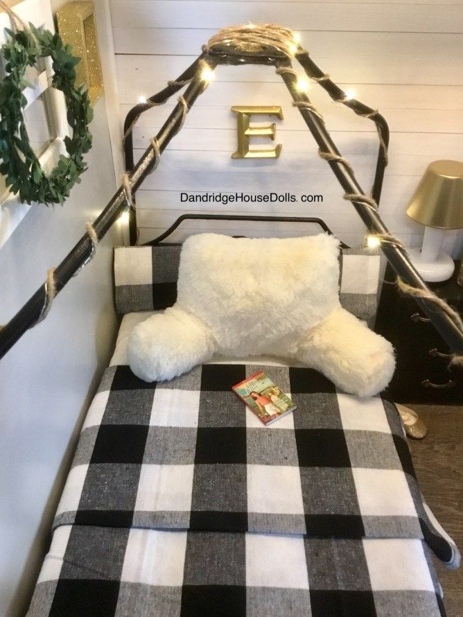 American Girl Doll Canopy Bed ~ Buffalo Plaid ~ Dollhouse