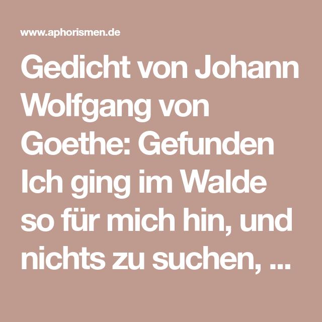 Gedicht Von Johann Wolfgang Von Goethe Gefunden Ich Ging Im Walde So Fur Mich Hin Und Nichts Zu Suchen D Johann Wolfgang Von Goethe Von Goethe Gedichte