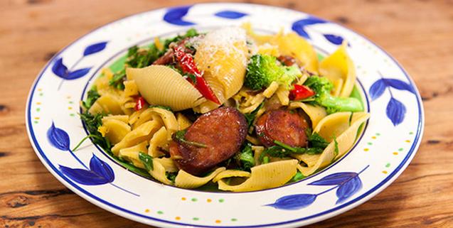 Shell pasta with chorizo broccoli asian food channel yumyum food shell pasta with chorizo broccoli asian food channel forumfinder Choice Image