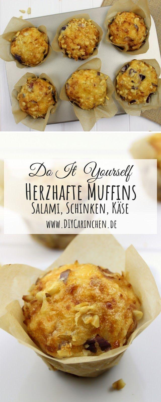 Rezept: Schnelle, einfache, herzhafte Salami-Schinken Käse Muffins