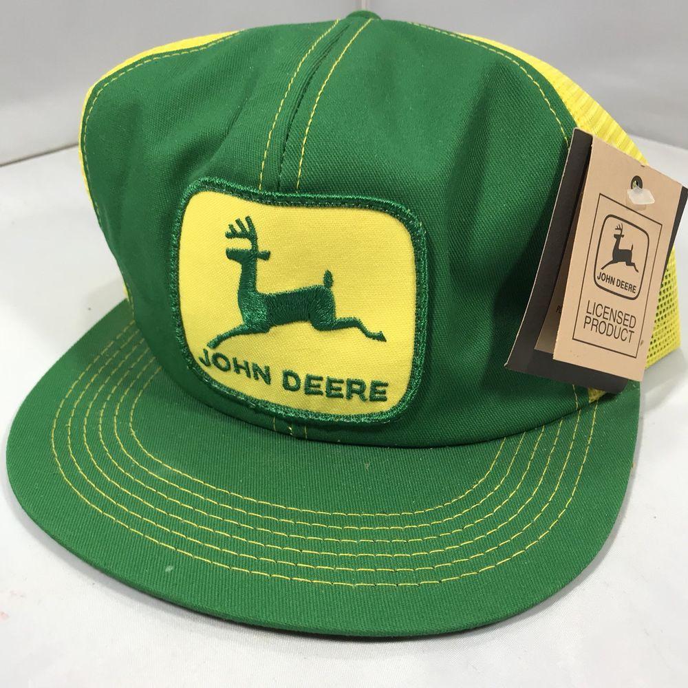 23dc9bac297 Vintage John Deere Patch Snapback Trucker Hat Cap 70s 80s VTG K PRODUCTS  RARE